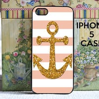 iPhone 5 case peach stripes with gold anchor - iPhone 5 Snap on Case Cover