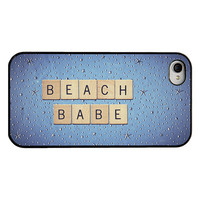 Quote Iphone cover - Iphone 4 4s case - beach babe - blue background with stars - letter tiles quote - girly Iphone cover