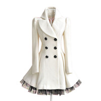 Gorgeous Fashion Ladies Twill Yarn Swing Double-breasted Woolen Coat