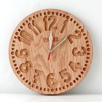 Wall clock -Paris-  vintage style clock made out of salvaged oak. Real cottage chick. Vintage face.