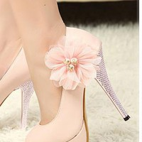 Lovely Womens Flower Shoes Rhinestone High Heels PINK MS008 from MooChiStyle