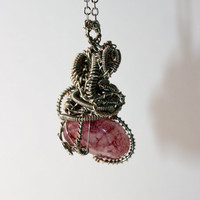 Wire Wrapped Pendant Necklace with Pink Amethyst by ByTheSeals