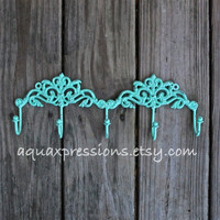 Metal Wall Hook /Aquamarine /Jewelry/ Key by AquaXpressions