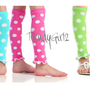 Turquoise Hot Pink Baby Pink Lime Lavender Red Polka Dot and White Girls Leg Ruffles Leggings