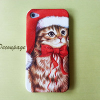 Cute Santa Cat - iPhone 4 Case , iPhone 4s Case , iPhone 3g , 3gs , iPhone 5 Case , Samsung Galaxy S3 , iPhone Case
