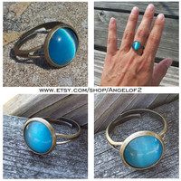 Blue Waters - Turquoise Blue Cats Eye Cabochon Ring -  Adjustable