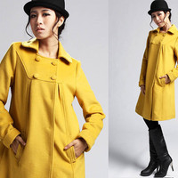 Yellow wool coat  399 by xiaolizi on Etsy