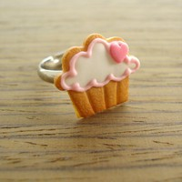Cupcake Cookie Ring - Pink Heart