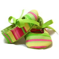 Baby Booties Stripes Bright Cotton Fabric Sewn by LittleDogLaughs