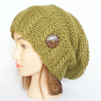 Wool olive green slouch hat women - beanies hat - Slouch Beanie - Large hat - chunky hat - Chunky Knit Winter Fall Accessories , Slouchy hat