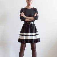 Custom Made Wool Blend Color Block ALine Dress in by LanaStepul