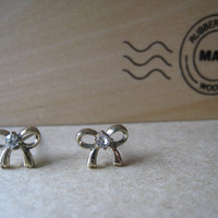Mini Bow Ribbon Earring Studs by Bitsofbling on Etsy