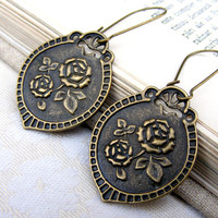 Bronze flower rose II charm modern boho contemporary medieval sale - vintage antique look earrings