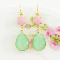 Mint Green Pink Earrings Vintage Teardrop Moonstone and Round Pink Glass Jewel Glamour Dangle Earrings