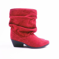 s a l e Vintage Slouchy Red Suede Leather Ankle Boots Size 5