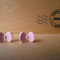 Mini Pink Bow Earring Studs by Bitsofbling on Etsy
