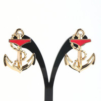 1980's Sailor Anchor Earrings Red and Gold by TheBabyDynosaur