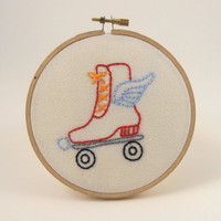 Roller Derby Hoop Art - Hand Embroidery - Wall Hanging