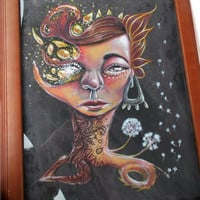 A Wrinkle Through The Life Of Daisy Bean, original, framed art piece, woman, acrylic, painting, dandelion
