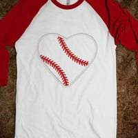 love baseball-Unisex White/Red T-Shirt
