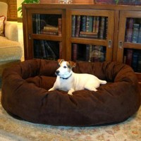 "Majestic Pet Extra-Large 52"" Bagel Dog Pet Bed MicroSuede - Chocolate"