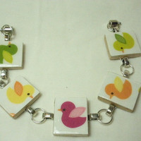 Spring Chicks Scrabble Tile Bracelet Ready To Ship