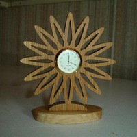 Starburst Sunflower Desktop or Shelf Clock Handcrafted from Oak Wood