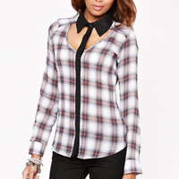 Kirra Colorblock Cutout Button Down Shirt at PacSun.com
