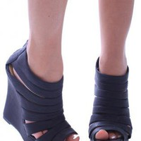 Black Wedges - Strappy Black Wedge Sandal Heels | UsTrendy
