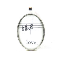 Music Note Pendant with Love from Vintage Music Sheet, in Glass Tile Oval