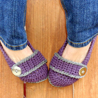 Stormy weather crocheted slippers, booties, shoes, socks with a button strap.