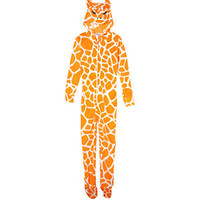 Teens Orange Giraffe Fleece All-In-One