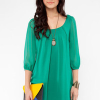 Jenna Chiffon Dress in Green :: tobi