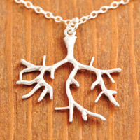 Silver Coral Branch Necklace - silver tree necklace, coral necklace, silver branch necklace, ocean necklace