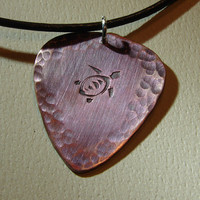 Copper Guitar Pick Pendant with Sea Turtle in by NiciLaskin