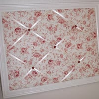 Shabby Chic Red Rose fabric ~ White Wood Frame Memo Board by ToileChicBoutique