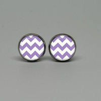 Silver Stud Post Earrings with Purple Chevron