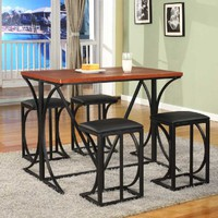5 Pc. Kings Brand Wood / Metal Counter Height Dining Room Set Table