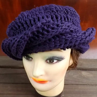 Crochet Hat Women Hat  - SAMANTHA Turban in Purple Cotton
