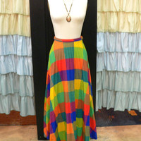 1970s Rainbow Plaid Pleated High Waisted Floor Length Maxi Skirt S/M