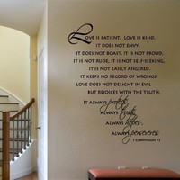 Wall Decal Scripture Love is Patient Love is Kind     Corinthians   Vinyl Wall Decal  LARGE