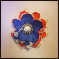 BlueOrange and White Flower hair clip 348 by RABOGNER on Zibbet