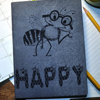 Be Happy,  inspired, Custom  Personal Journal,  Blank  note book, Book, Journal