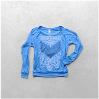 The Nomad - tribal womens pullover - arrows and lace chest plate on turquoise lightweight raglans - spring fashion - S/M/L/XL