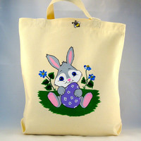Easter Tote Bag With Bunny And A Bee