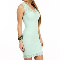 Mint V-Neck Lace Fitted Dress