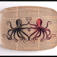 Personalized Valentine PLATTER Octopus Lovers by BlackBaroque
