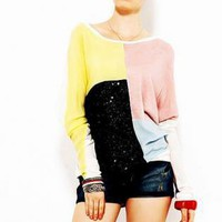 Multi Three-Quarter/Long Sleeve Top - Contrast Color Block Bat Sleeve | UsTrendy
