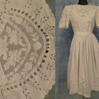 ViNTAGE 70s INDiA CUT WORK ViCTORiAN LACE GAUZE BoHo HiPPiE WEDDiNG SHiRT DRESS