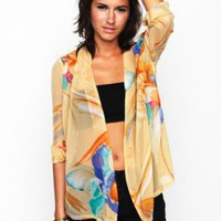 Orange Three-Quarter/Long Sleeve Top - Floral Sheer Cardigan Top | UsTrendy